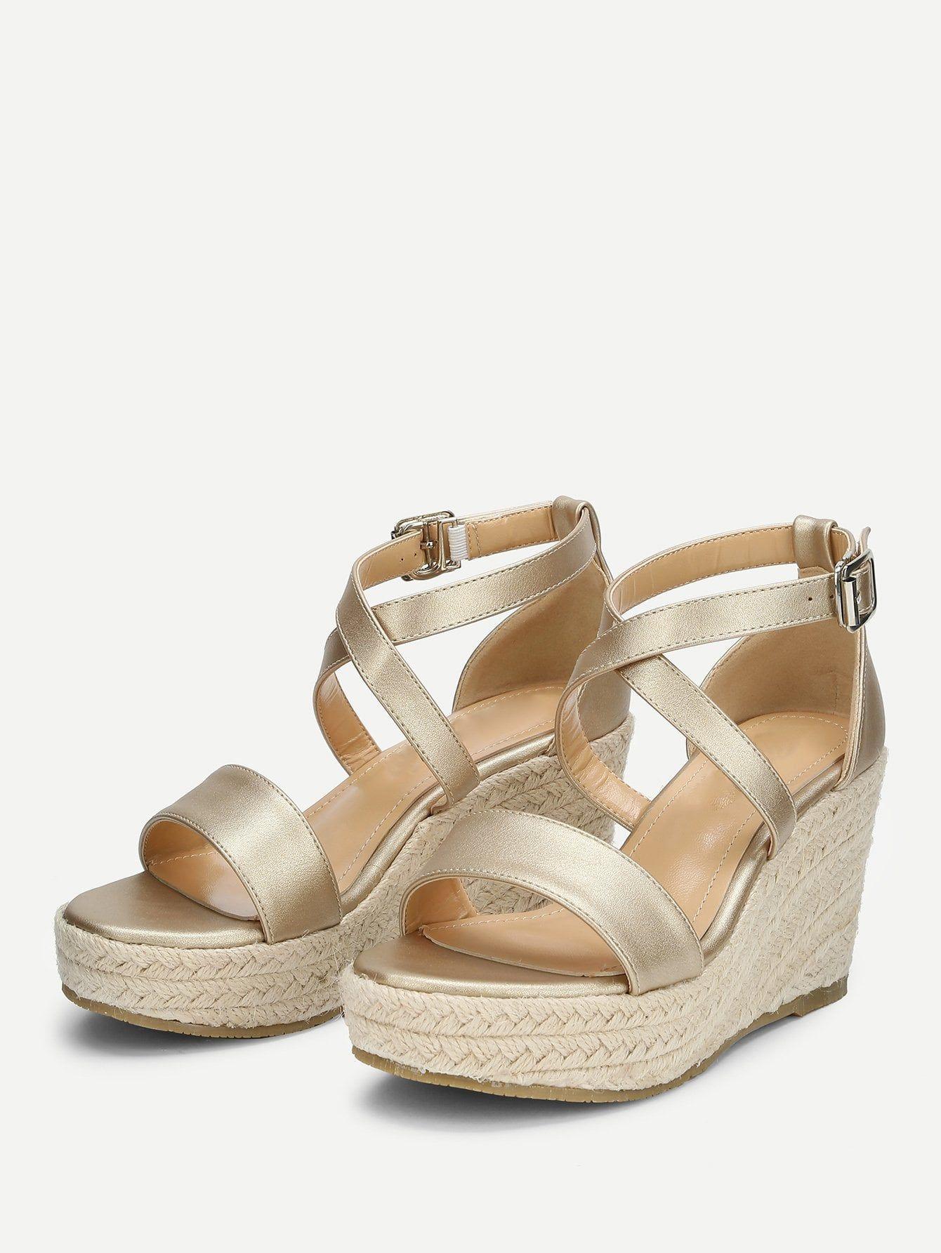 0f318a17a2bf Vacation Open Toe Platform Criss Cross Gold High Heel Espadrille Platform  Criss Cross Wedge Sandals