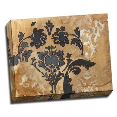 Picture it on Canvas 'Black Damask' Graphic Art Wrapped Canvas