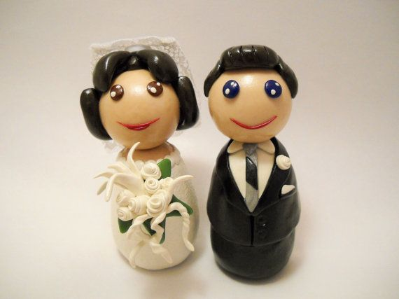 wedding cake toppers clay cake toppers polymer by MudAndWineStudio