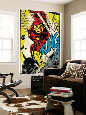iron man wall mural mural funtastic hulk amazing spider man rh pinterest com