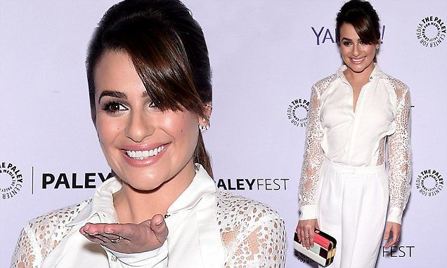 Lea Michele glistens in white pantsuit at PaleyFest with Glee cast #whitepantsuit Lea Michele glistens in white pantsuit at PaleyFest with Glee cast #whitepantsuit
