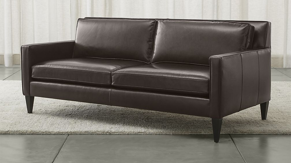 Rochelle Leather Apartment Sofa Crate And Barrel Fireplace