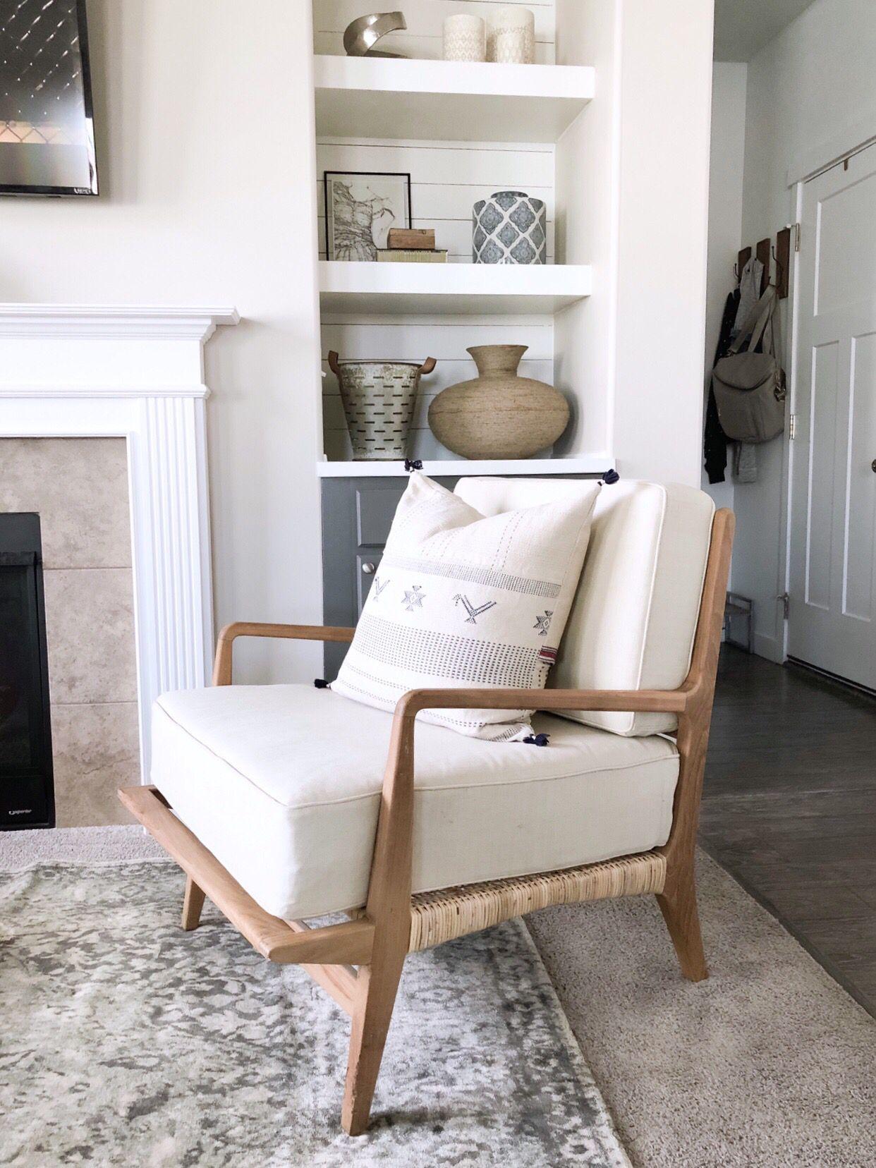 Neutral Studio Mcgee Accent Chair In Living Room Atop Vintage