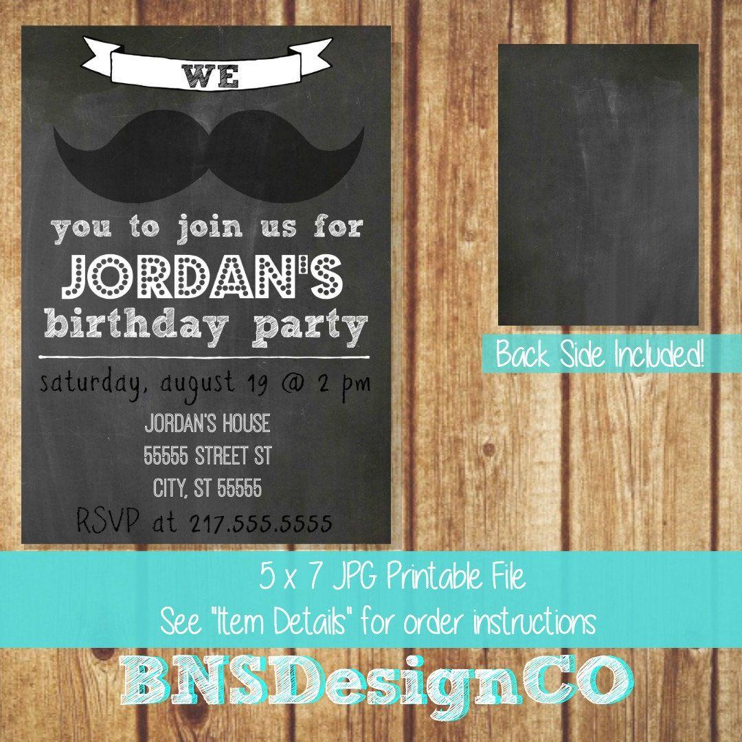 birthday party invitations printable%0A Printable JPEG Invitation by BNSDesignCo  on Etsy  Mustache InvitationsInvitation  BirthdayParty