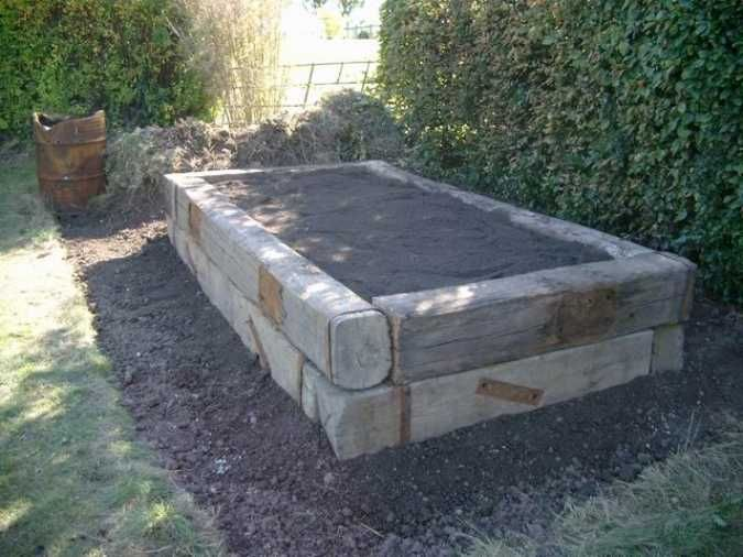 Railroad Tie Raised Garden Bed Google Search