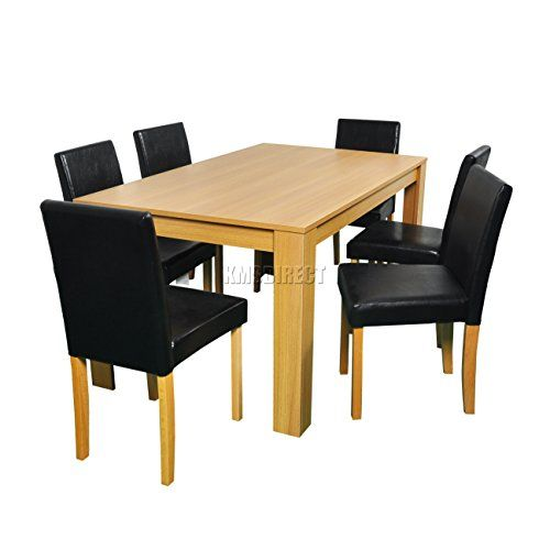 westwood quality wooden dining table and 6 pu faux leather high back rh pinterest com