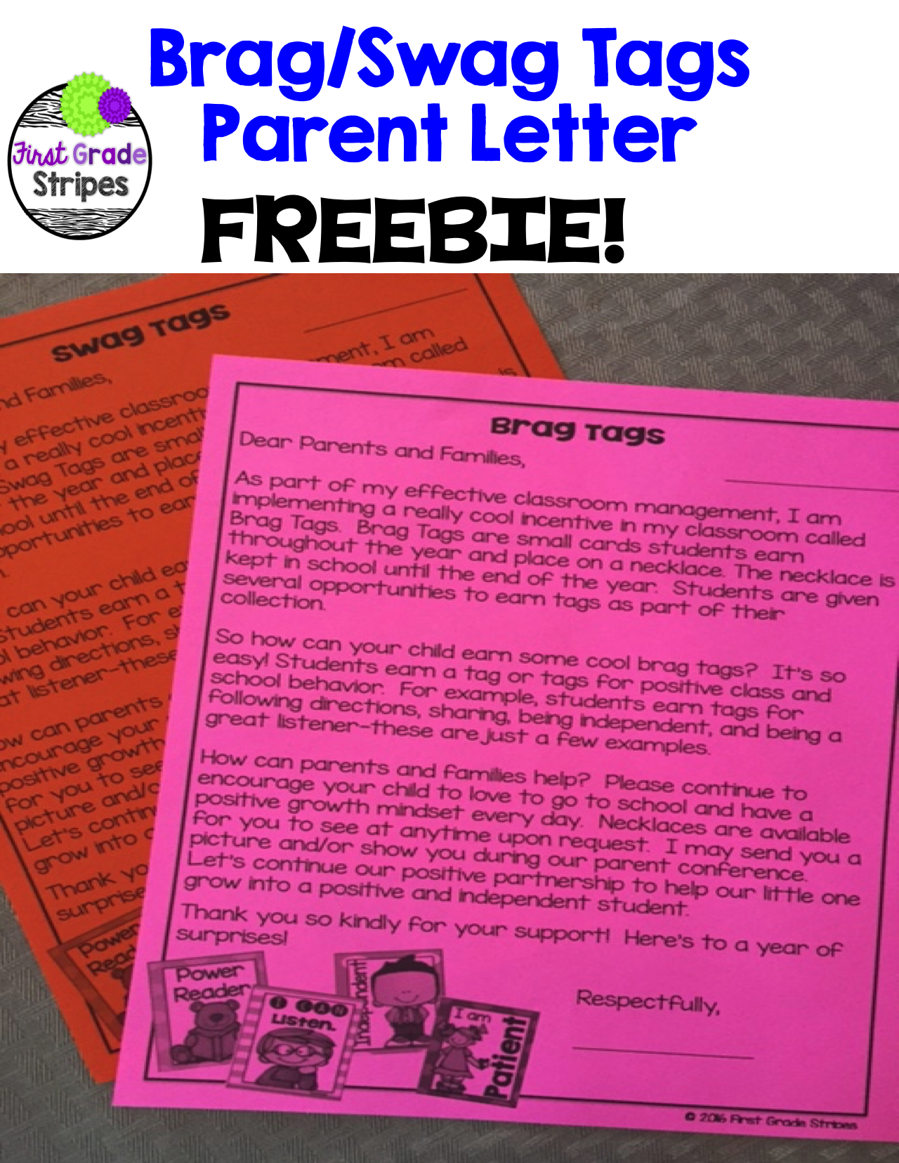Classroom procedures classroom organization classroom management - Free Letter To Parents Explaining Brag Swag Tags In The Classroom