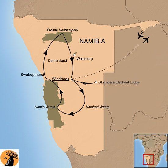 Dunen Atlantik Safaris Intensives Namibia Ubersichtskarte