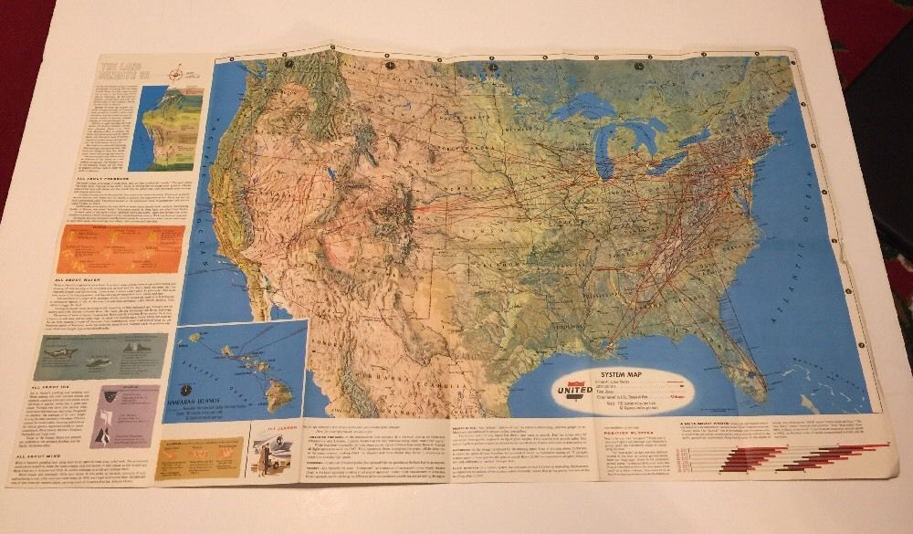 Map Us Missile Silos%0A United Airlines Route System Map Air Atlas      Vintage Stewardess Poster