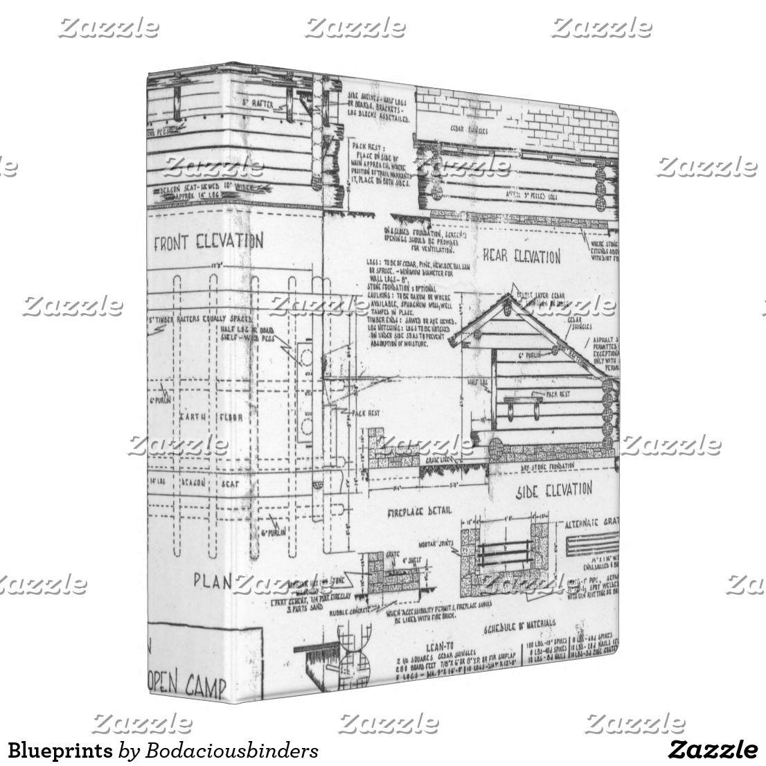 Blueprints 3 Ring Binder | Zazzle.com | Blueprints, Binder ...