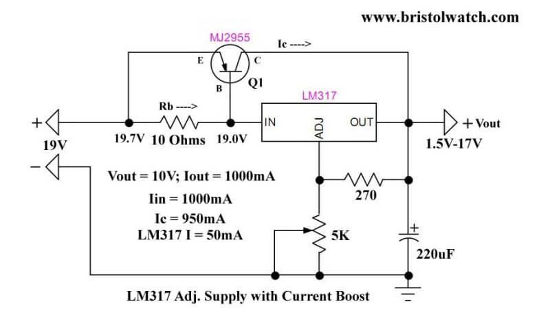 lm317 current boost circuit at 1 amp electronic \u0026 electric inlm317 current boost circuit at 1 amp