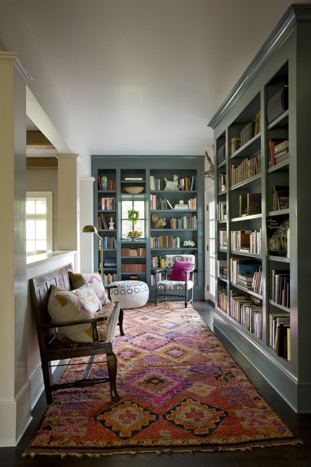 built in bookshelves painted cornflower blue designed by janie rh pinterest com