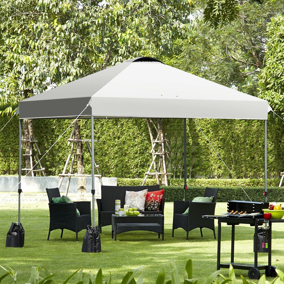Gymax 10x10 Ft Pop Up Canopy Tent Wheeled Carry Bag 4 Canopy Sand Bag Walmart Com In 2020 Pop Up Canopy Tent Canopy Tent Canopy