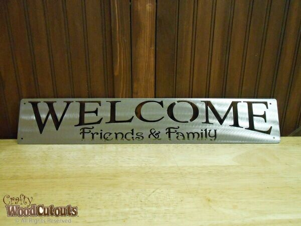 """Welcome Family and Friends Metal Craft. This craft is about 22.5"""" wide and 4"""" tall and costs $15.99."""