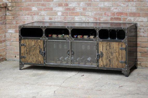 Credenza Con Frigo Bar : Wine rack cabinet modern industrial credenza coffee bar