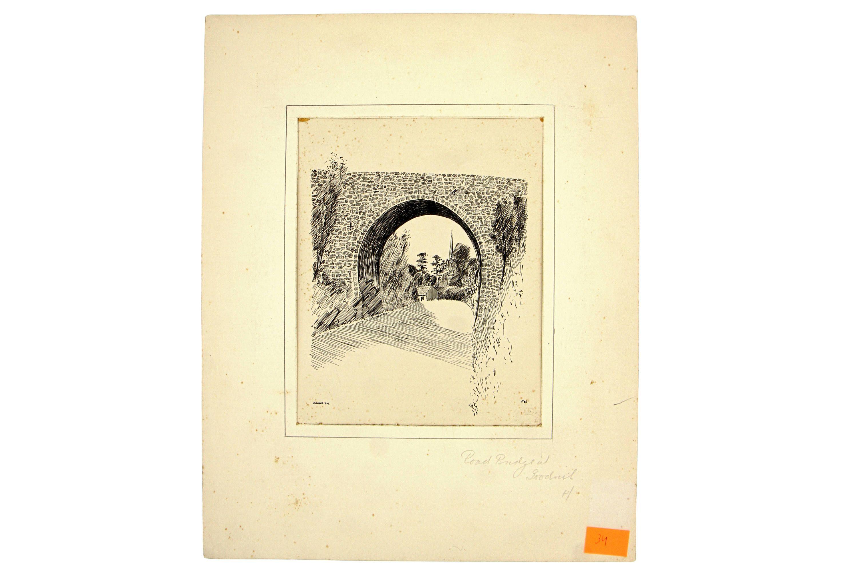 Clun Castle Ruins, The West Midlands, Antique Ink Sketch, Antique ...