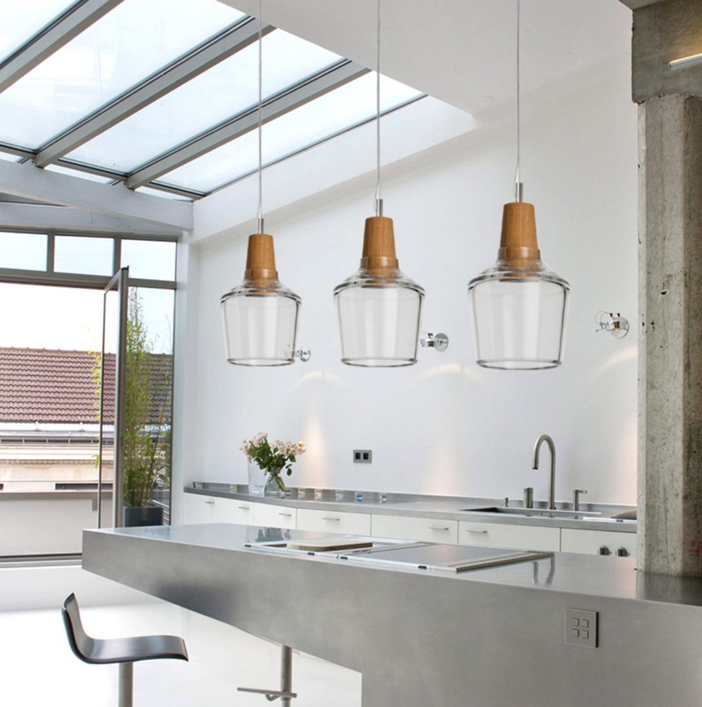 Dresden Tinted Glass And Wood LED Pendant Ceiling Light. Modern ...