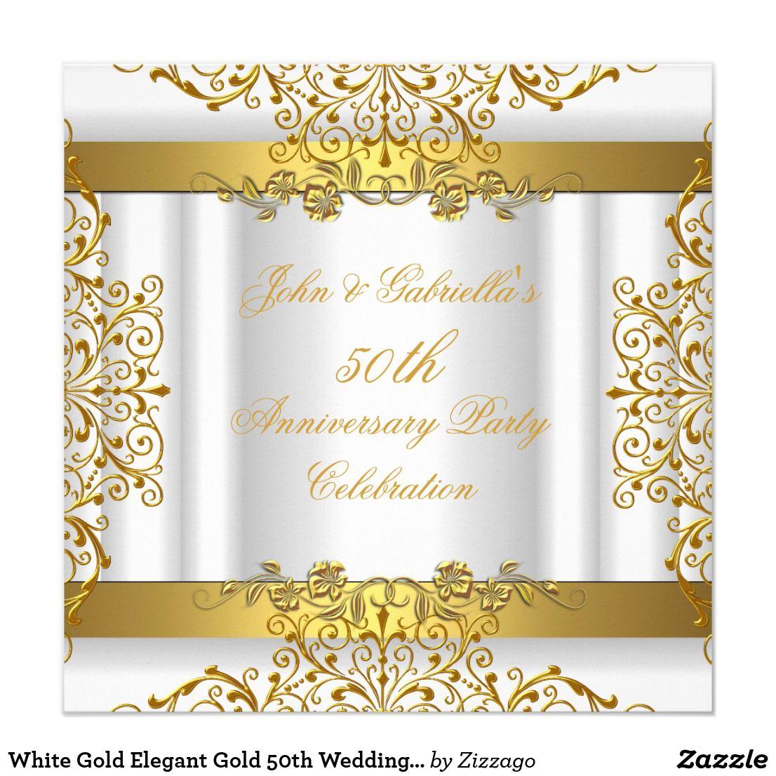 White Gold Elegant Gold 50th Wedding Anniversary Invitation