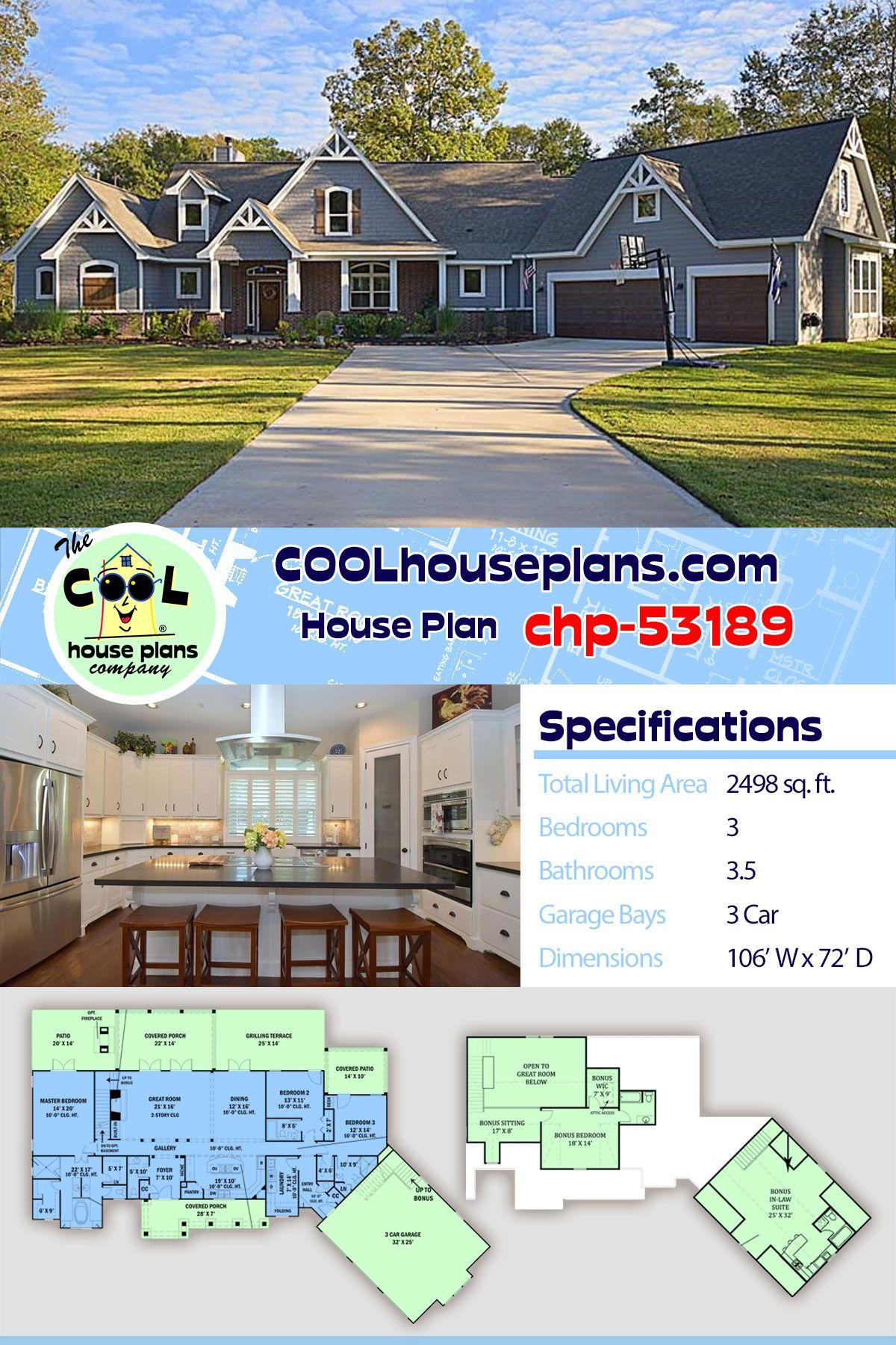 Tudor Style House Plan 98267 With 3 Bed 4 Bath 3 Car Garage Craftsman House Plans House Plans House