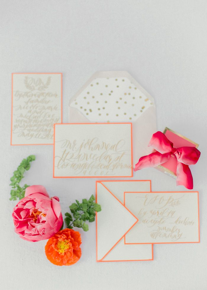 Coral and Citrus Summer Wedding Stationery | photography by http://www.exquisitrie.com/