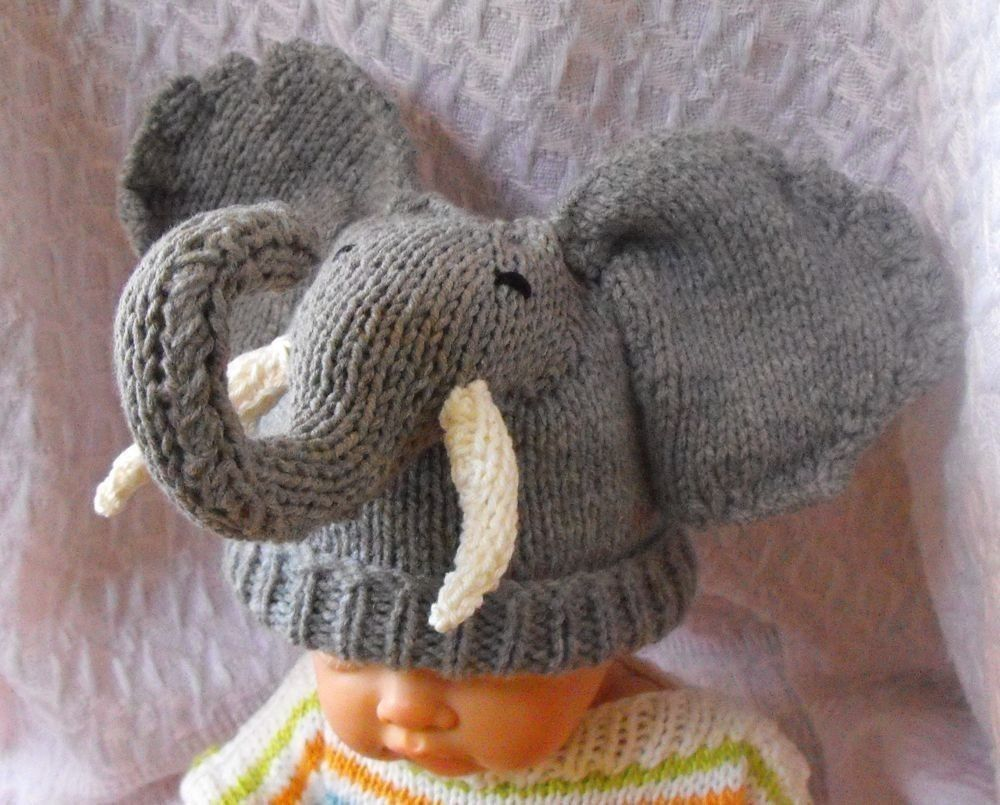 knitting pattern only-madmonkeyknits Baby Big Ears Elephant Beanie ...