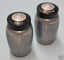 Vintage Original KROMEX BRUSHED ALUMINUM BAKELITE TOPS Salt Pepper Shakers 1950s