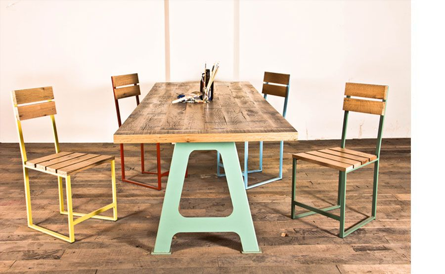 wood table with colorful character furniture rh pinterest de