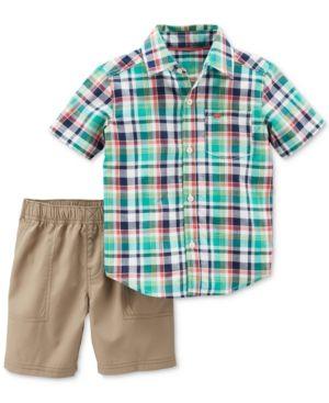 b6f2a8dd Carter's 2-Pc. Plaid Cotton Shirt & Shorts Set, Baby Boys - Plaid 18 months