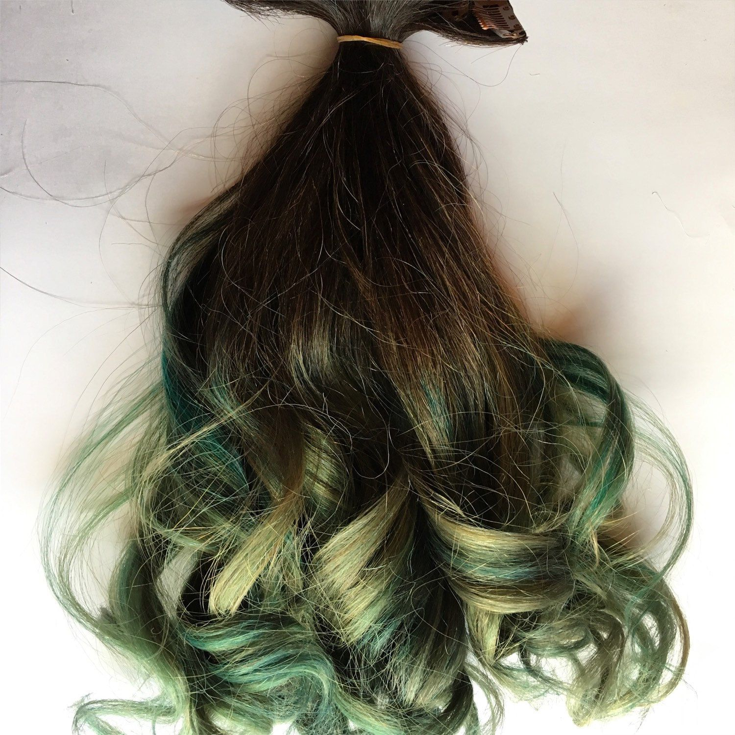 18 Inch Ombre Hair Extensions Black To Emerald Green Oil Slick Dye
