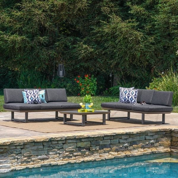 bronte outdoor 3 piece aluminum seating sofa set with cushions by rh pinterest com