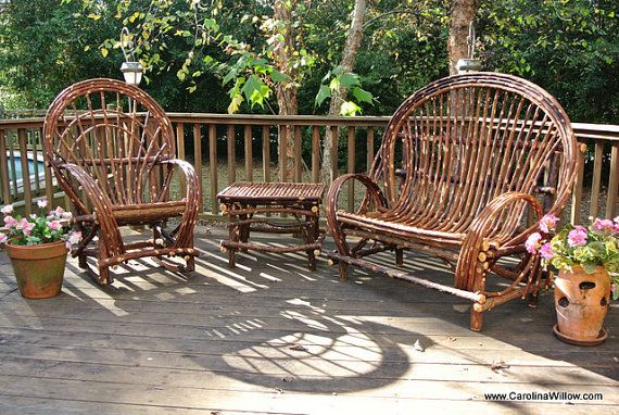 3 piece set handcrafted twig willow love by twigwillowfurniture rh pinterest com