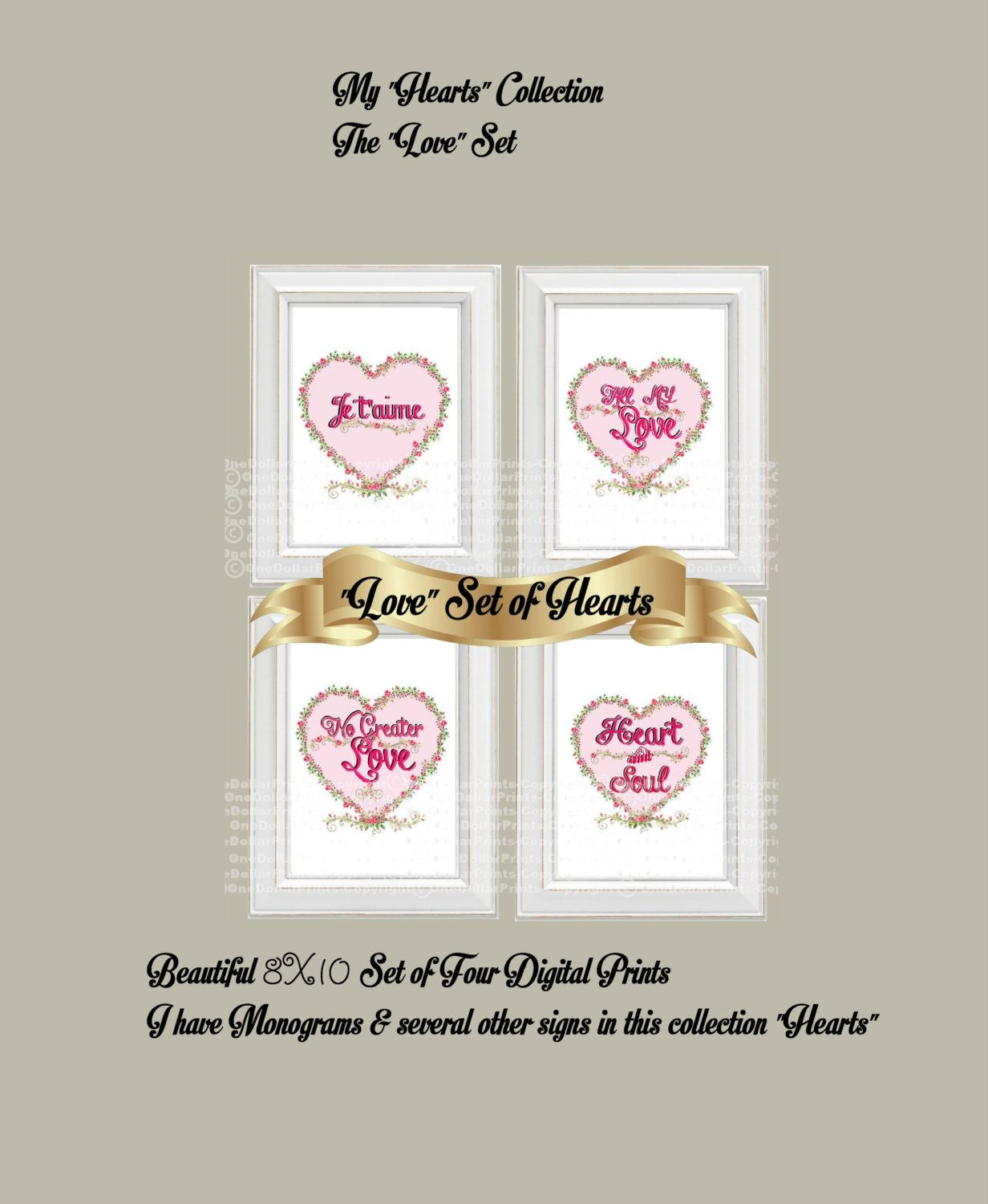 $1.00 Gorgeous set of 4 - $4.00 My Shabby chic LOVE hearts LOVE SET 4 Digital Prints My Hearts Collection by OneDollarPrints