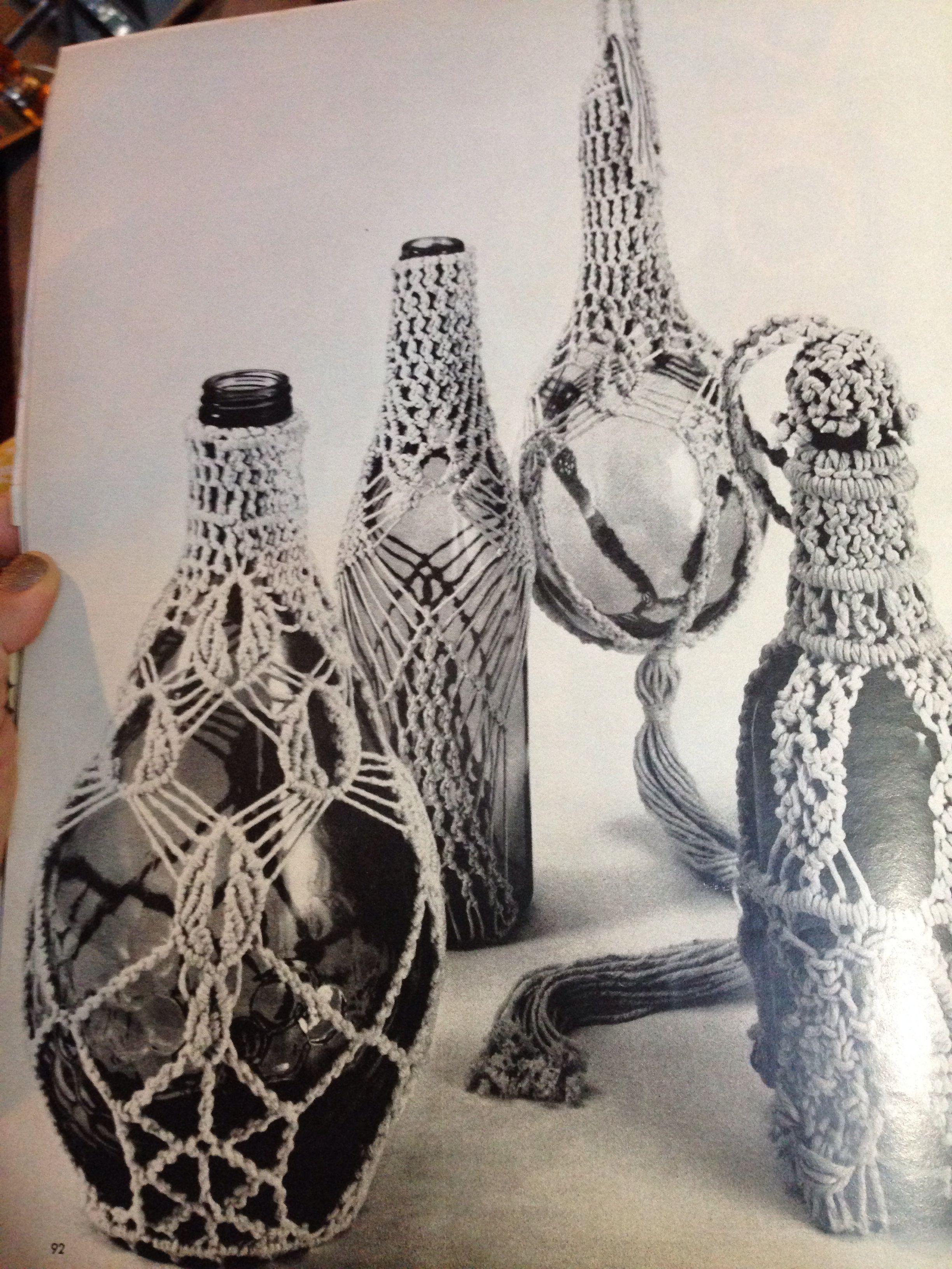Vintage macrame bottle holders Wine Bottle Crafts