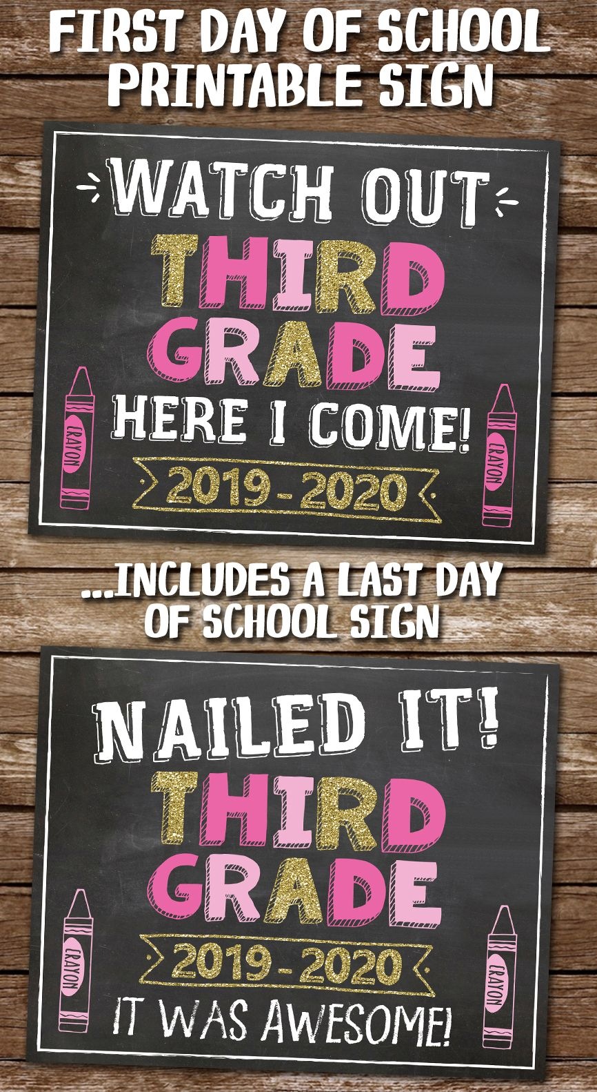 image regarding First Day of 3rd Grade Sign Printable referred to as 1st Working day of 3rd Quality Printable Chalkboard Indicator for Lady inside of