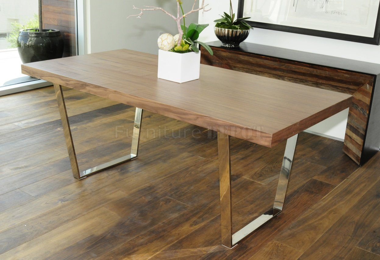 Modern desk table with metal legs walnut espresso or white modern desk table with metal legs walnut espresso or white modern dining table geotapseo Choice Image