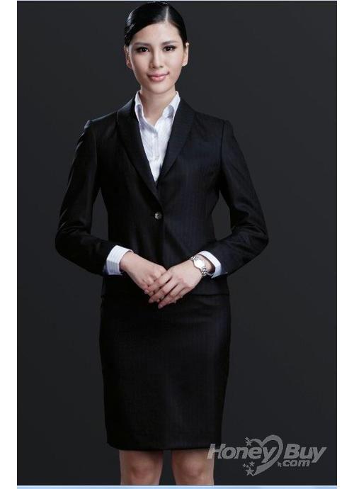71133a02790 Shawl Lapel Midnight Blue Stripes Women Business Suit