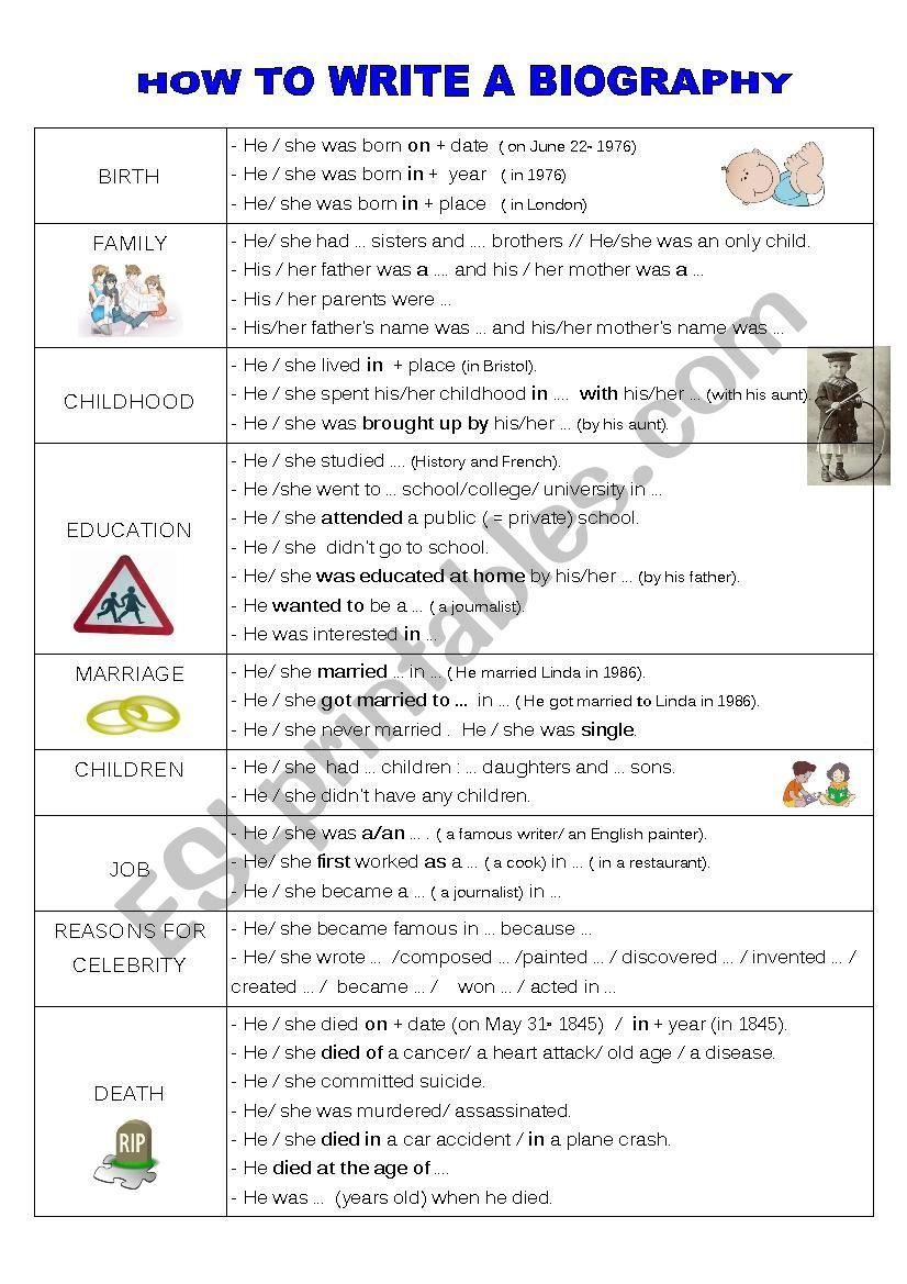 How To Write A Biography Esl Worksheet By Faurfab Writing A Biography Biography Template Biography Project Elementary