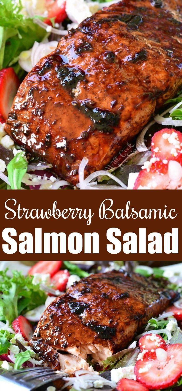 Strawberry Balsamic Glazed Baked Salmon Salad