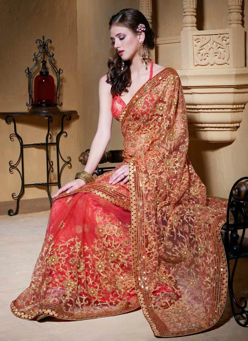 Rose Pink Designer Indian Wedding Saree With Blouse