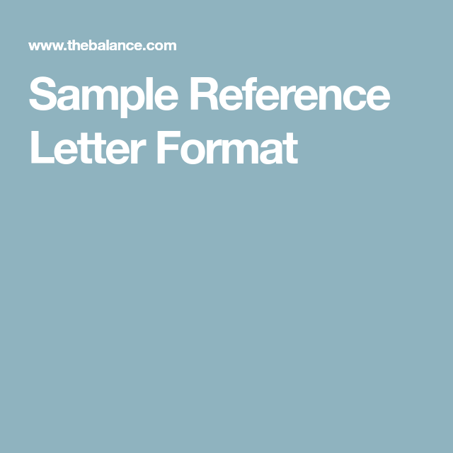 How To Format A Reference Letter  Reference Letter