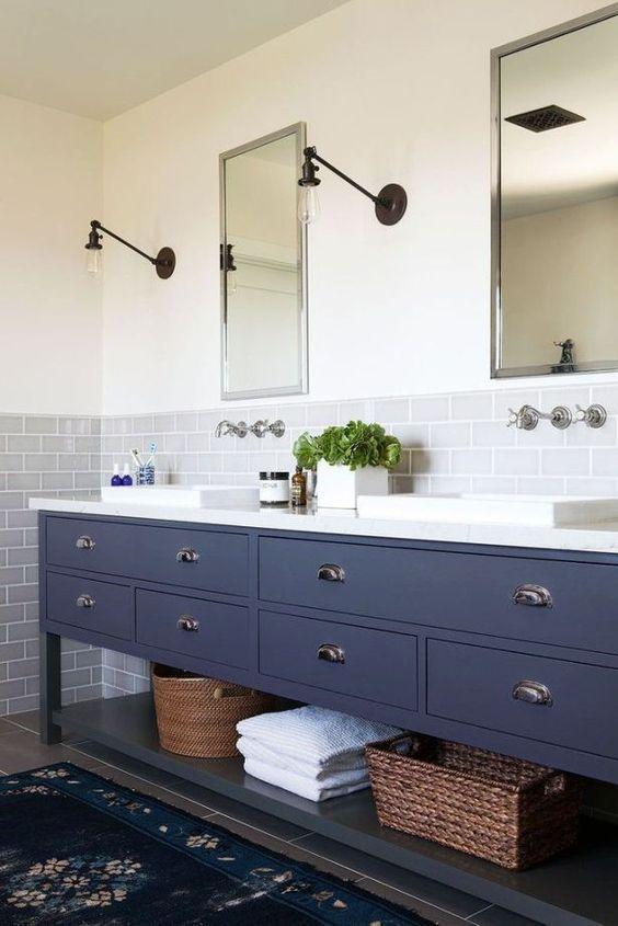 Hamptons Navy Brown Bathroom Vanity Remodel Modern Farmhouse Bathroom Farmhouse Bathroom Vanity