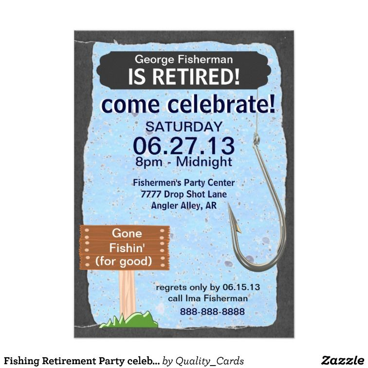 Fishing Retirement Party celebration invitation - retirement party flyer template