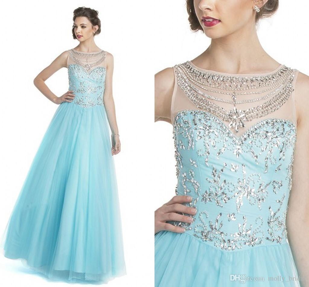 Charming Light Sky Blue Prom Dresses 2017 New Style Bateau Sheer Cap ...