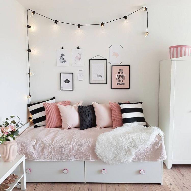 teen girl bedroom white pink black colour scheme rh pinterest com