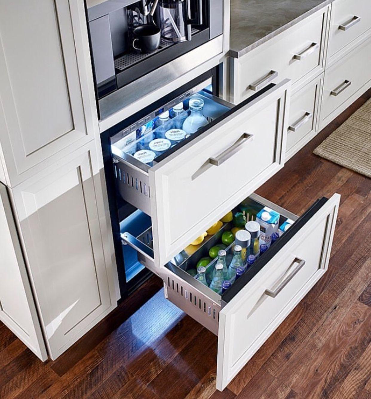 Coffee Station And Under Counter Refrigerator Drawers Kitchen Remodel Kitchen Modern Kitchen