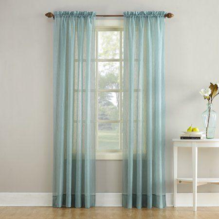 No 918 Jillian Crushed Voile Sheer Rod Pocket Curtain Panel Blue