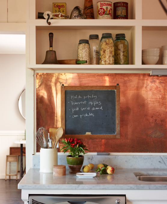 copper backsplash i made one with brass that was very similar in rh pinterest com