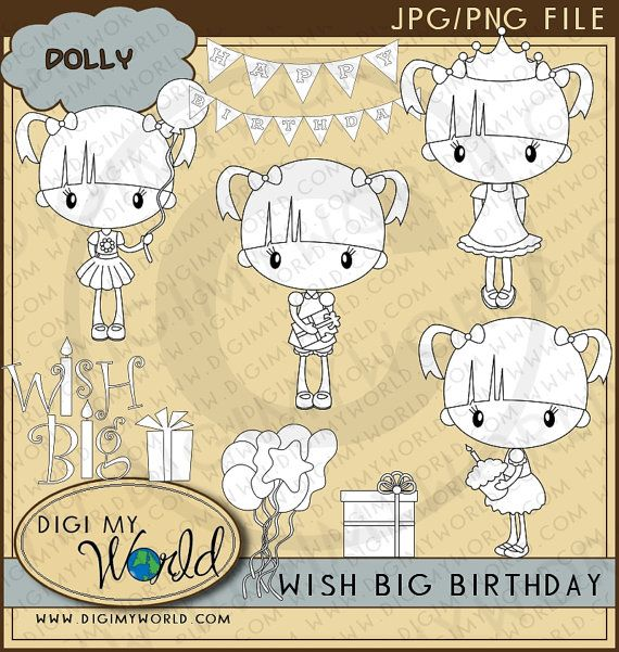 Illustrations for the personalized book for the birthday girl. Birthday Party chibi DOLLY girl Happy Birthday by DigiMyWorld, $3.99