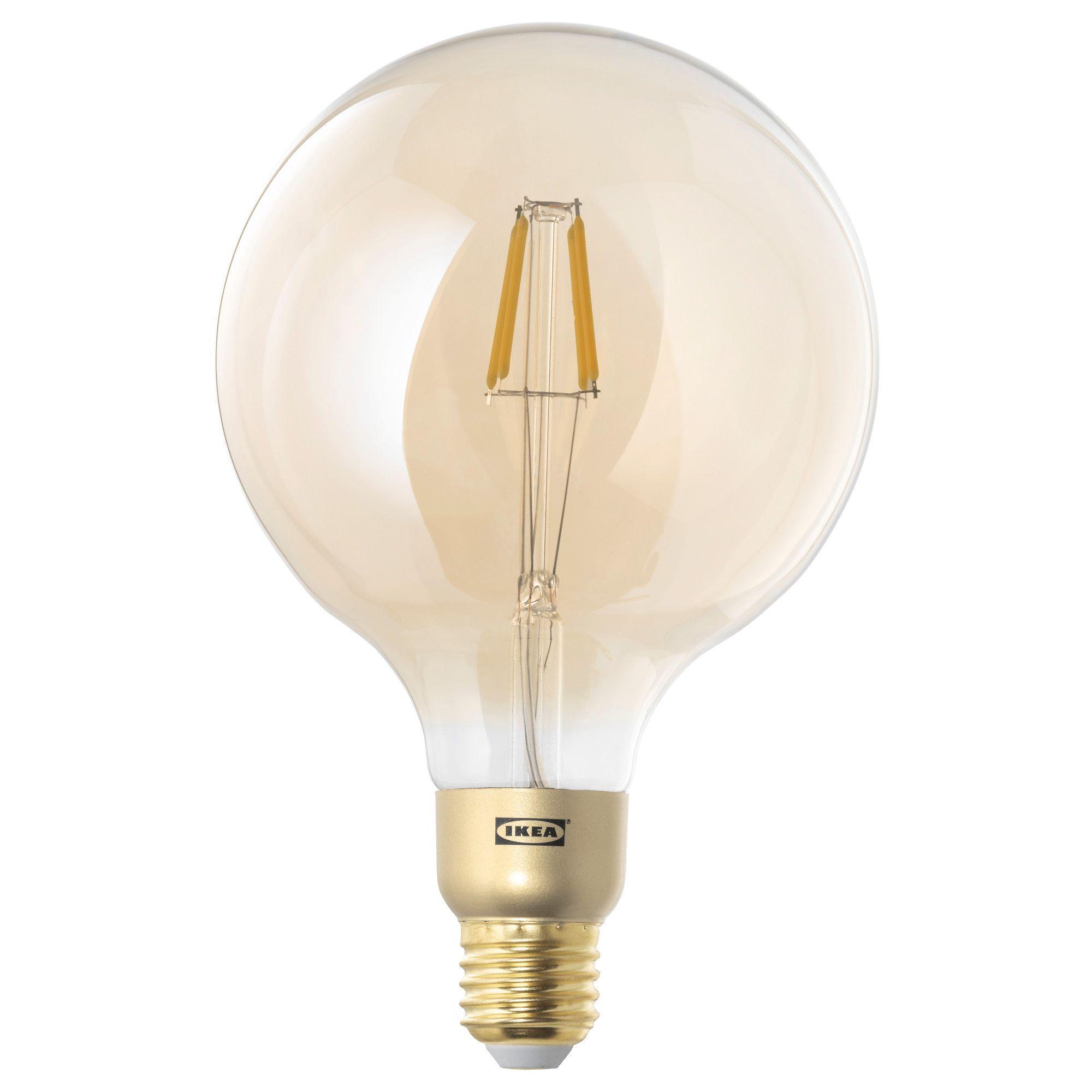 LUNNOM LED ljuskälla E27 400 lumen, dimbar, globformad brun klarglas ...