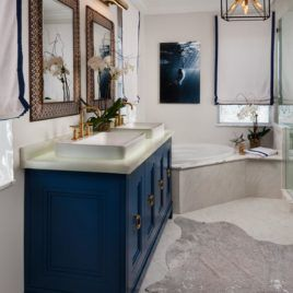 image result for bathroom blue gray gold fixtures | navy